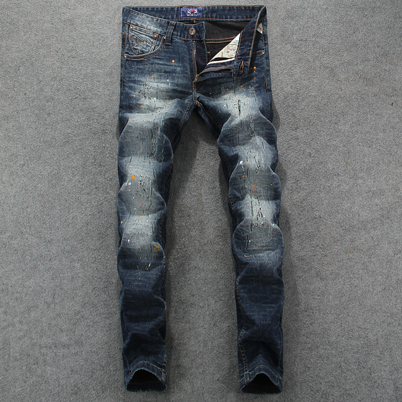 Fashion Streetwear Men   Jeans   Retro Wash Destroyed Paint Designer Ripped   Jeans   Men Hip Hop Pants Slim Fit Elastic Printed   Jeans