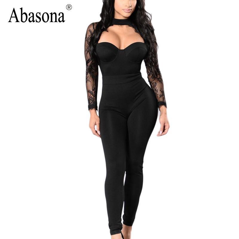 f8f07cfa94 Detail Feedback Questions about Abasona Lace patchwork high waist skinny jumpsuits  Women Sexy strapless long lace sleeve tube top Elegant rompers and ...
