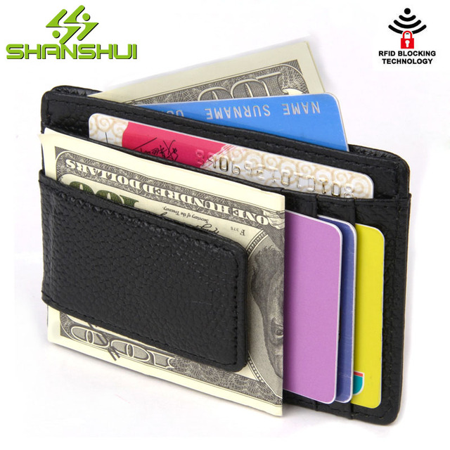 336a2a2fd32 RFID Slim Genuine Leather Credit Card Holder Wallet Women Mini Card Casual  Travel Men Small Wallets with Clear Window Card Slots