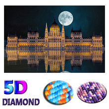 "Full Round Drill 5D DIY Diamond Painting ""Inverted reflection in water ""3D Diamond Embroidery moon night Cross Stitch Home Decor(China)"