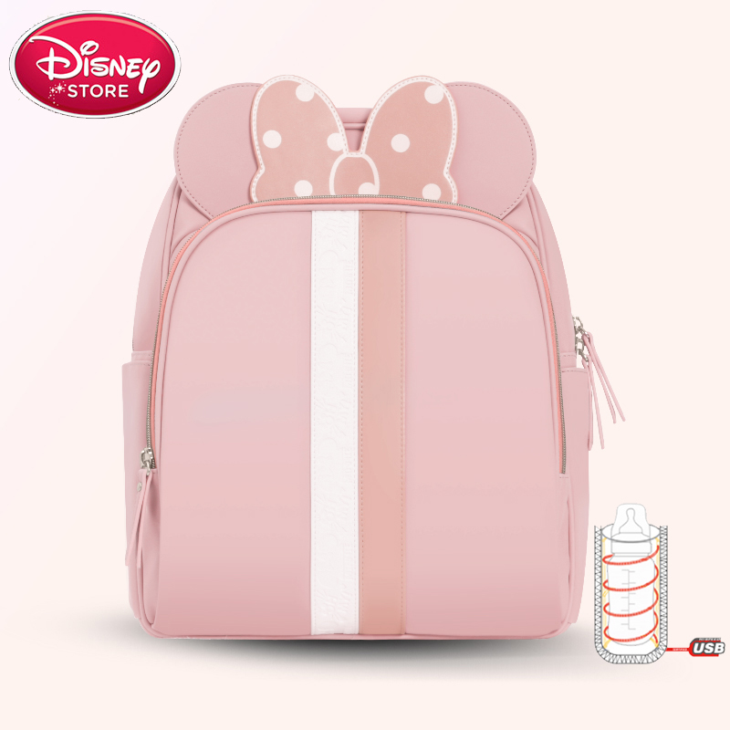 Disney Minnie Diaper Bag Multifunction Backpack Baby Care Stroller Nursing Nappy Bag for Mummy with USB Bottle Insulation BagsDisney Minnie Diaper Bag Multifunction Backpack Baby Care Stroller Nursing Nappy Bag for Mummy with USB Bottle Insulation Bags