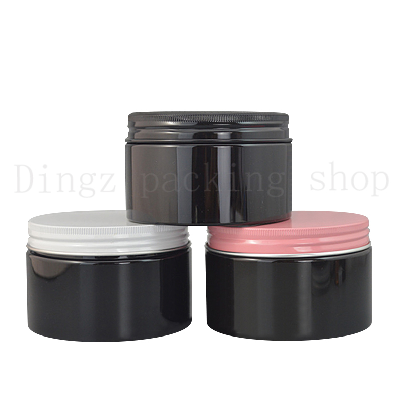 20pcs 300ml Cosmetic Empty Jar Pot Eyeshadow Makeup Face Cream Container Refillable Box black plastic cosmetic