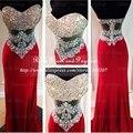 Impressionante longo vermelho prom vestidos querida off the shoulder rhinestone prom dress cintura ver através sereia vestidos de baile 2017