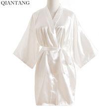 3ce2d536f256e Плюс Размеры модная летняя женская мини-кимоно короткий халат банный халат  белый китайский Для женщин