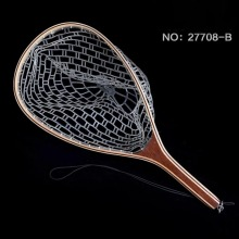 Fly Fishing Landing Net Rubber Net Bamboo And Wooden Frame Fishing Net Fly Fishing Accessories