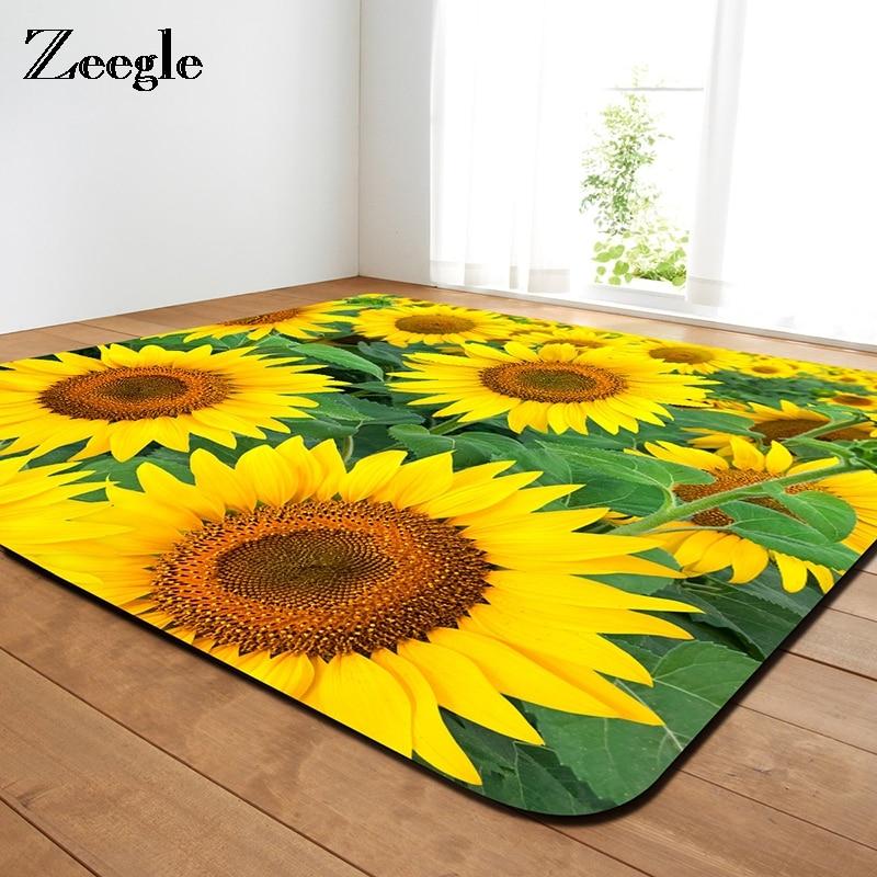 Zeegle 3D Sunflower Printed Carpets For Living Room Non-slip Home Rugs Kids Room Bedroom F Floor Mat Soft Bedside Rug