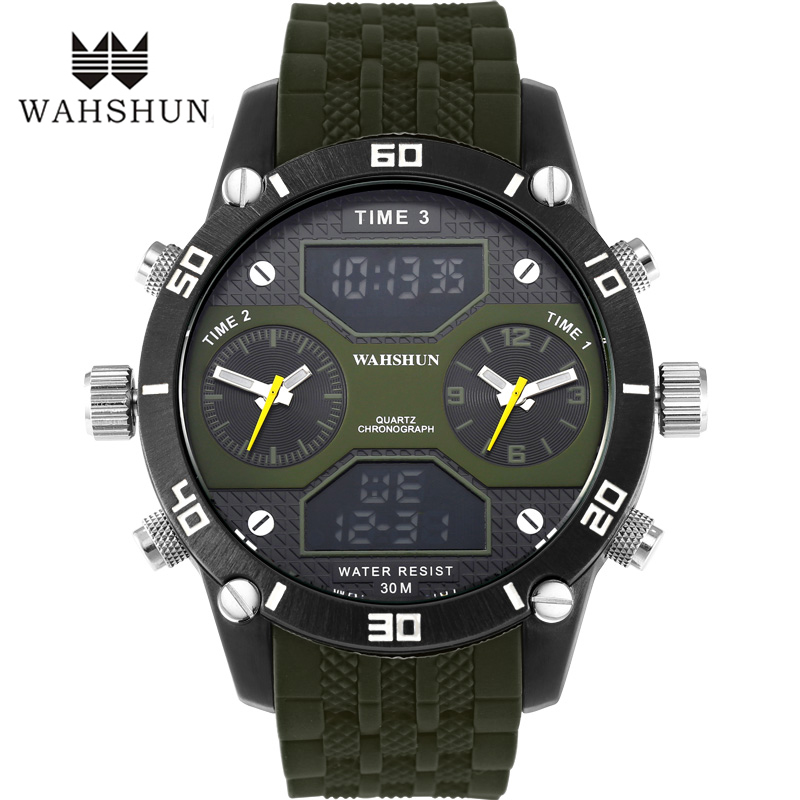 2016 Luxury Brand Military Watches Men Quartz Analog Double movement Clock Man Sports Watches LED Army