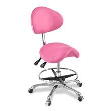Modern Message Saddle Chair With Footrest&Swivel Adjustable Leather Chair Medical Spa Drafting Stool with Back For Home/Office