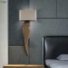 Moderno ala de madera tallada lámpara de pared Led tela tonos dormitorio Led accesorios de iluminación de pared Foyer Led luces de pared del pasillo Sconce