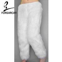 FURSARCAR 2018 новый роскошный дизайн Для женщин натуральным лисьим штаны с мехом одноцветное 100 см длинные с натуральным лисьим мехом брюки толст