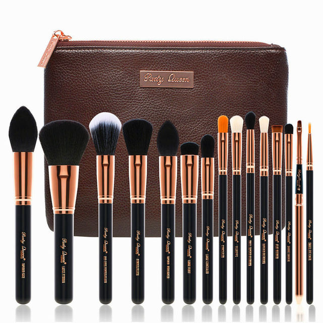 Party Queen Best Makeup Brush Pro Foundation Blending Eyeshadow Lip Powder Blush Brush Beauty Tool with Cosmetic Bag