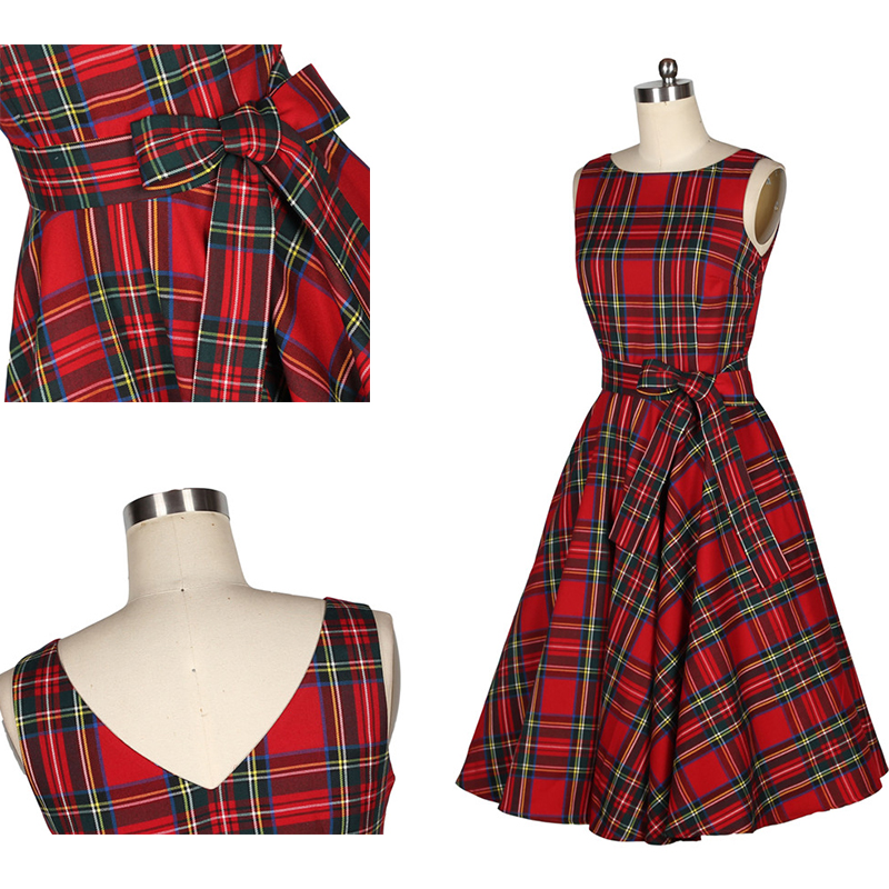 cc8a3df528b4d 0022 1950s pinup retro vintage rockabilly Audrey Hepburn Classy red tartan  swing Christmas boat neckdress/plaid /gingham dress-in Dresses from Women's  ...