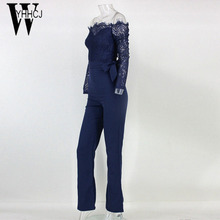 2018 women summer jumpsuit sexy off shoulder long sleeve women bodysuit lace patchwork bodycon rompers womens jumpsuit