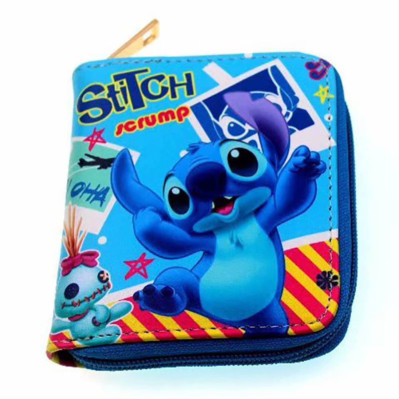 Lovely Cute Cartoon stitch lilo Coin Purse Gift for Kids Boy Girl Leather Zipper Wallet Small Card Holder Coin Bag Clutch Bags new cute cat face zipper case coin purse female girl printing coins change child purse makeup bag clutch wallet phone key bags