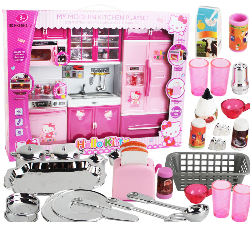 DHL hello kitty Pretend Play Toy Tableware Sets Baby Kitchen Cooking Simulation Model Kitchen girl Christmas gift