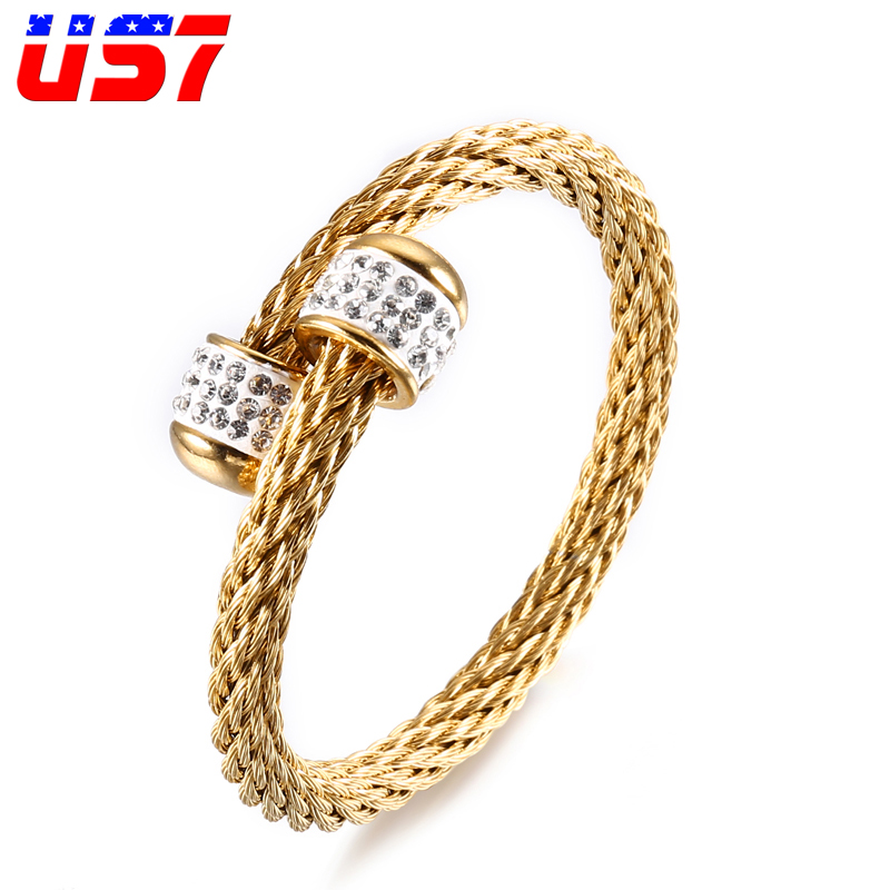 US7 Cool Stainless Steel Rock Wire Line Gold Bracelets Punk Hip Hop Crystal Zircon Adjustable Bangles For Men Jewelry Gift
