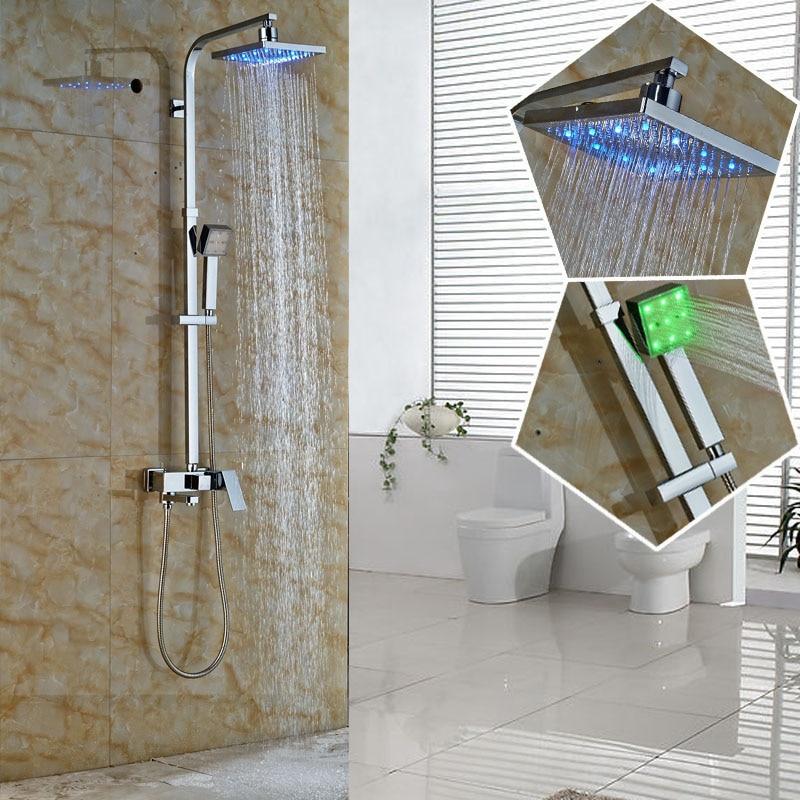 Bathroom Chrome Square Rain Shower Faucet Single Handle Led Light ...