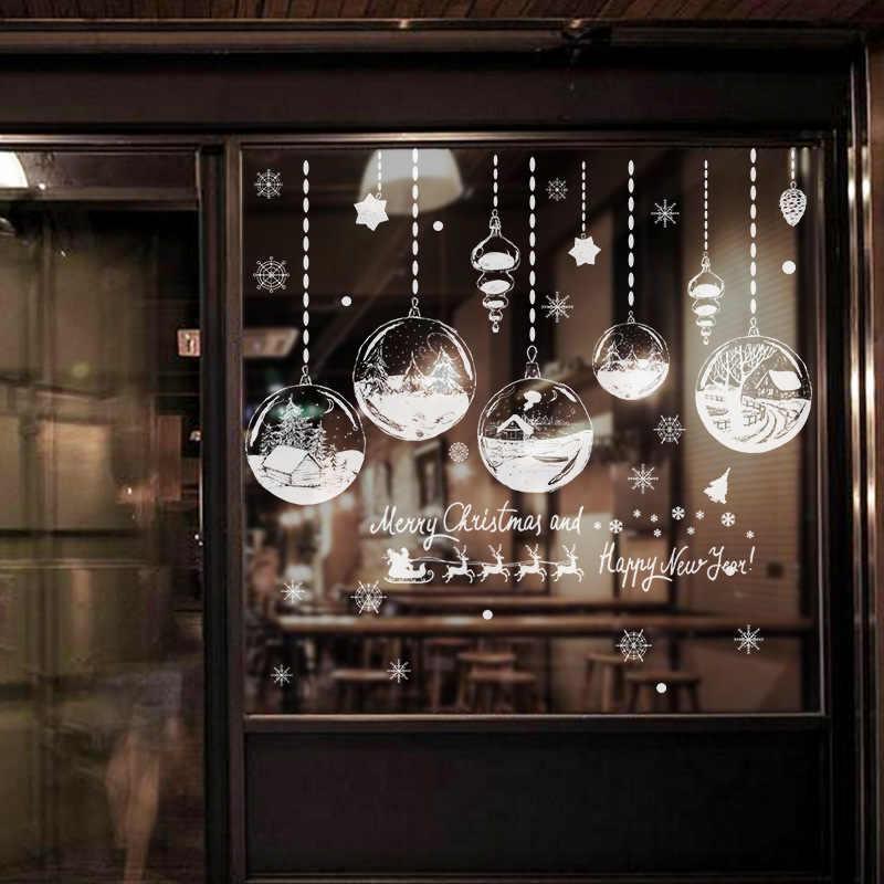 Personalità Lampadario Nuovo Anno Di Natale Decorazioni per la Casa Porte In Vetro e Finestre Sfondo Decorazione Autoadesivi Smontabili della