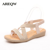 AREQW 2017 Summer New Simple Flat Fish Head Sandals With Solid Color Elastic Student Shoes Korean