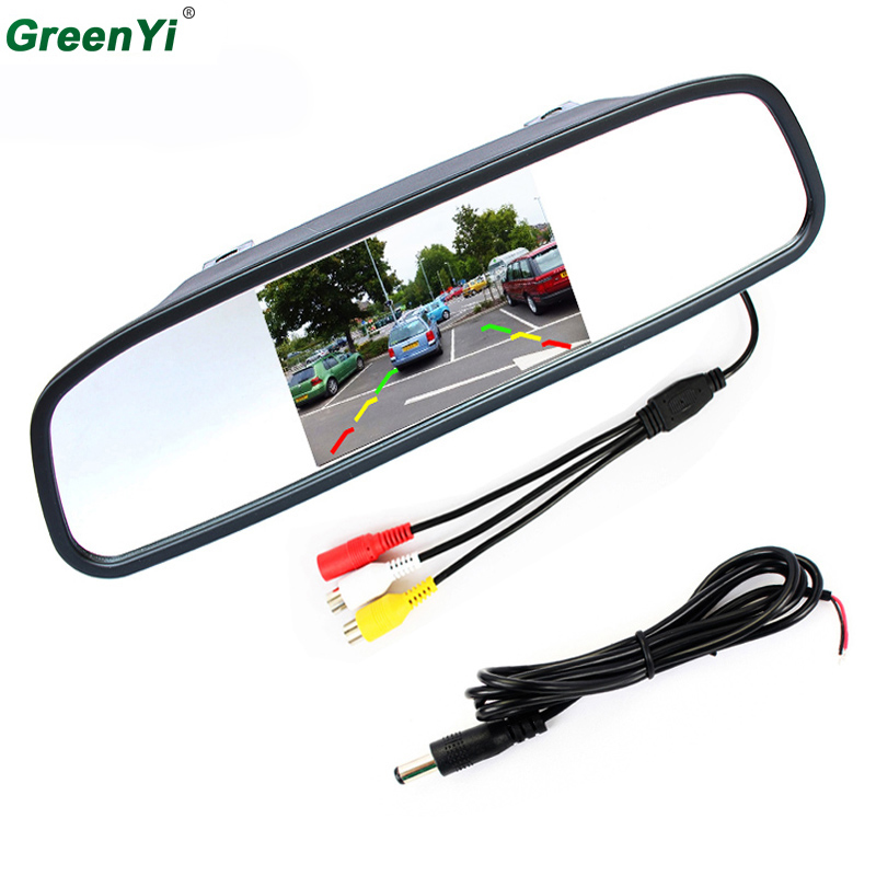 4.3 Digital TFT LCD Mirror Car Parking Rear View Monitor With 2 Video Input Connect Rear / Front Camera Free Shipping Now sinairyu hd 800 480 car mirror monitor 5 tft lcd mirror car parking rear view monitor 2 video input connect rear front camera