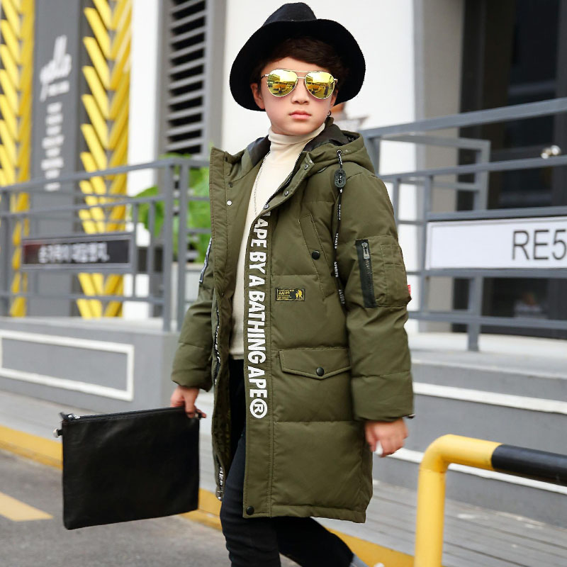 2017 Kids Warm Winter Boys Down Jacket Children Thicken Coat Long Down Jackets For Boys White Duck Down Hooded Collar Outerwear