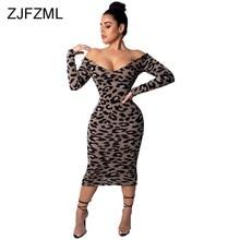 3f036f6af811ed Luipaard Print Sexy Bodycon Jurken Vrouwen Slash Hals Lange Mouw Slim Fit  Potlood Jurk Vintage Off Shoulder Backless Party Dress