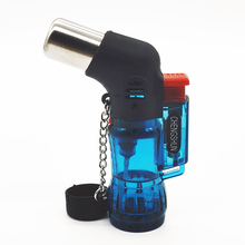 Transparent Three Nozzle Torch Turbo Lighter gas  Cigarettes Lighters Spray Gun Blue Flame 1300C Visible