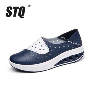 Image 2 - STQ zapatos planos de piel auténtica para mujer, zapatillas de plataforma, mocasines sin cordones, para Primavera, 2020