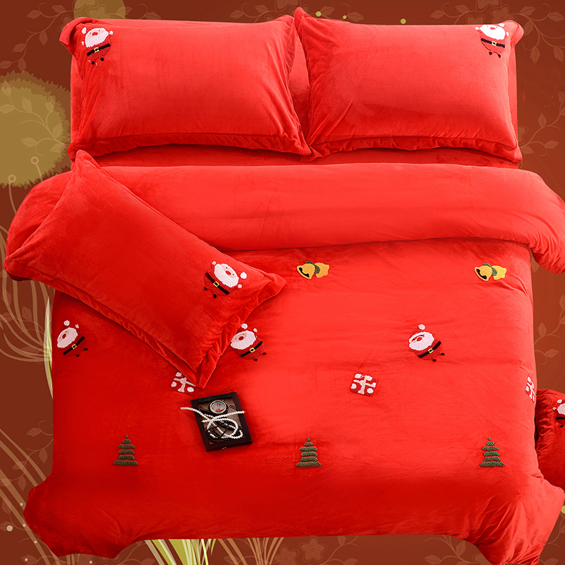 4pcs Crystal Flannel Merry Christmas Bedding set Winter Warm Fleece Towel embroidery Duvet cover set Bed Sheet Queen King size