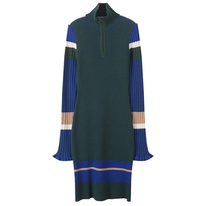 Slim Turtleneck Zippper Dress Femme Winter Striped Rib Robe Women Dress Elegant Pullover Knit Vestido Runway