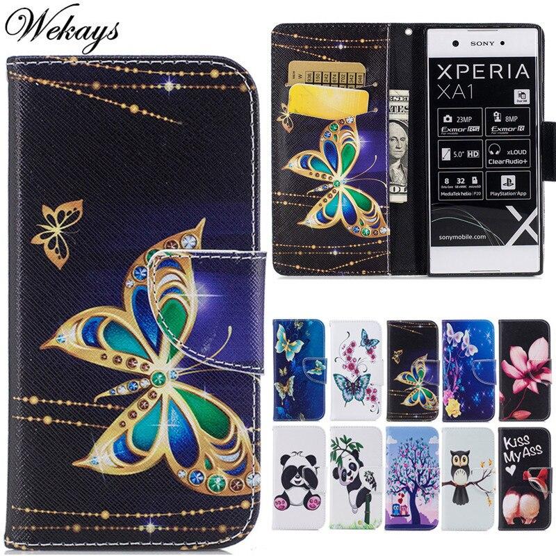 Wekays Case For Sony Xperia XA1 G3116 Borboleta Bonito Dos Desenhos Animados de Couro Fundas Caso sFor Coque Sony XZ F8332 XZs G8232 Abranger Os Casos