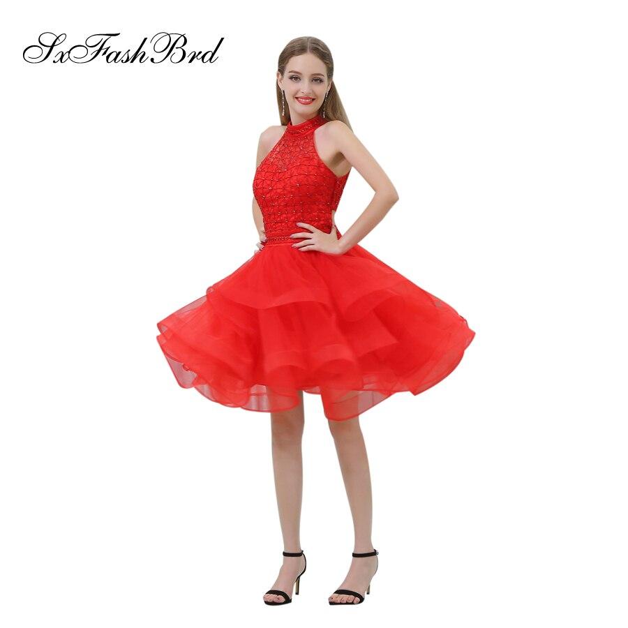 Vestido De Festa Longo High Neck With Beading A Line Mini Short Tulle Formal Elegant   Dresses   Women Evening Party   Prom     Dress