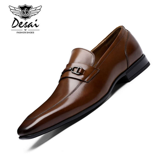 85e947831887 DESAI Brand Top Quality Men Pointed Toe Shoes Genuine Leather Luxury Men  Dress Shoes Slip On Wedding Shoes