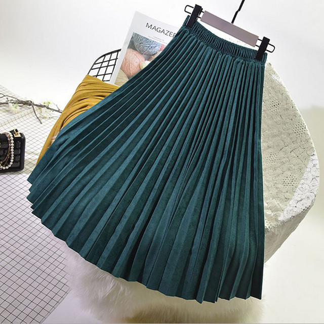 OHRYIYIE Long High Waist Pleated Skirts Womens 2018 New Fashion Vintage all-match Velvet Skirt Shiny Bright Side Maxi Skirt WS75