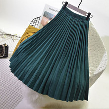 OHRYIYIE Long High Waist Pleated Skirts Womens 2019 New Fashion Vintage all-match Velvet Skirt Shiny Bright Side Maxi WS75