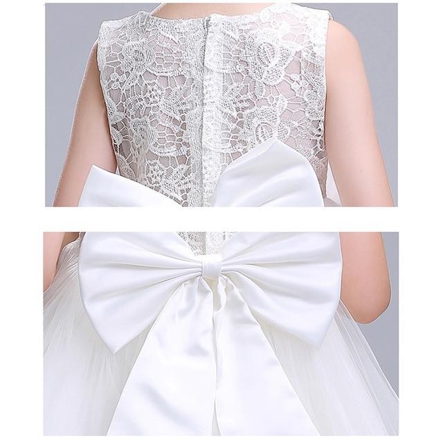 Menina vestido de verão branco princesa 3-14 anos menina vestido de festa robe fille crianças marca vestidos formatura