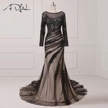 61e1a01d1a6 ADLN best продажи Русалка Вечерние платья совок с длинным рукавом арабский вечерние  платье черный специальный Нарядное платье