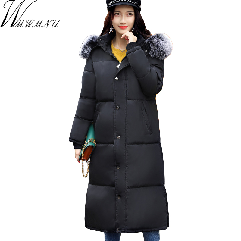 Wmwmnu 2017 New Winter Woman fur collar Jacket Women Thicken Coat with hood Warm Jackets X-Long Parka Large Size x long woman warm winter down coat camouflage brand really fur collar hood print down jackets with pockets size m 3xl