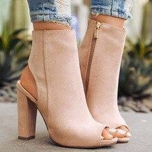 Yaz kadın seksi pompaları süet yüksek topuklu sandalet Slingback Zip yarım çizmeler kadın topuk ayakkabı Zapatos Mujer açık ayak kare topuk