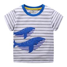 boys animal t shirt cotton stripe printing tshirts for boys O-Neck Regular  new fashion kids 2018 sport T shirt erkek New style