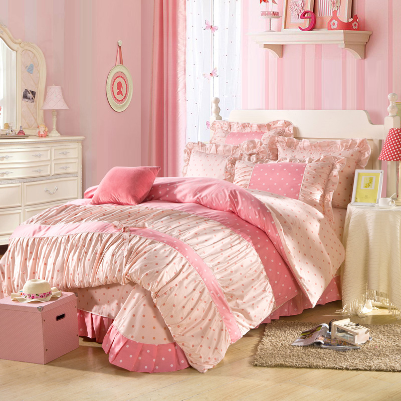 green blue pink princess ruffle bedding sets queen king size 100 cotton duvet cover pillowcase. Black Bedroom Furniture Sets. Home Design Ideas