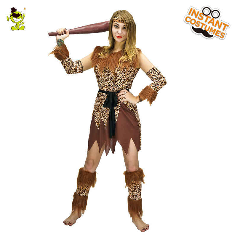 de32777cd2d Women's Indian Cosplay Costume Leopard Flintstone African Halloween Tribal  Hunter Clothing Savage Caveman Costumes