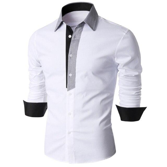 bb1f873a2ba Fashion Long Sleeve Shirts For Men 2018 Summer Casual Turn Down Collar Tee  Shirts Slim Fit Male Cotton Shirt Formal Black White