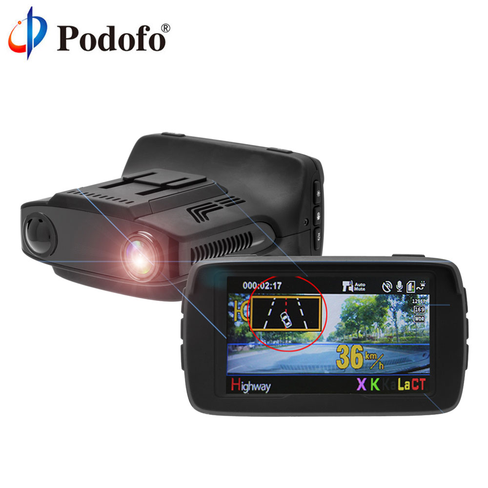 Podofo Ambarella GPS Radar Auto DVR Radar Detector 3 in 1 FHD 1080P Dash Cam X/K/Ka La/CT Dashcam Anti Radar BlackBox Nachtzicht