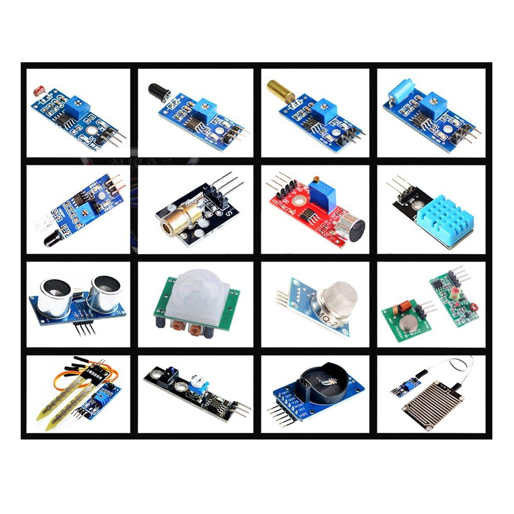 For Arduino Raspberry Pi Sensor Kit 16pcs/lot DHT11 HC-SR501 DS1302 HC-SR04 Flame MQ-2 Tilt TCRT5000 Sensor Module Kit