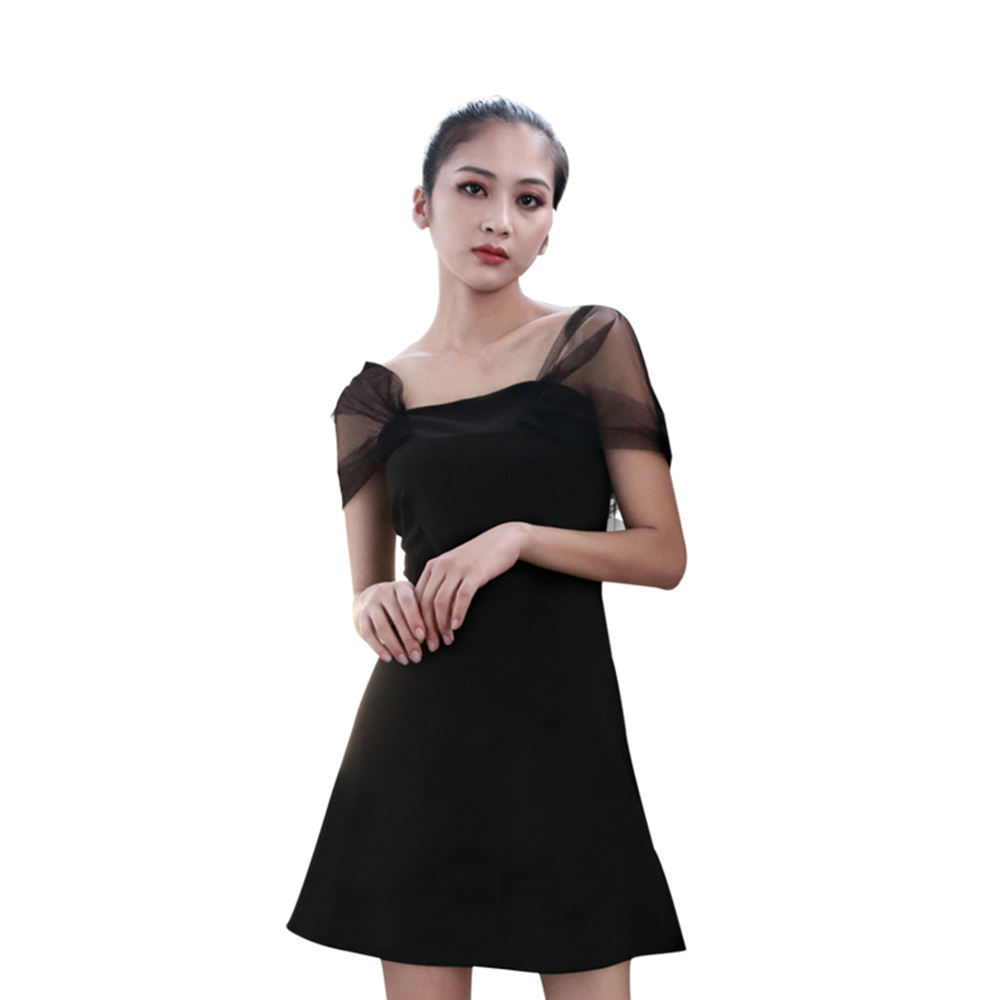 Steampunk Black High-Waist Shoulder Punk Vintage Slim Backless Gothic Dress