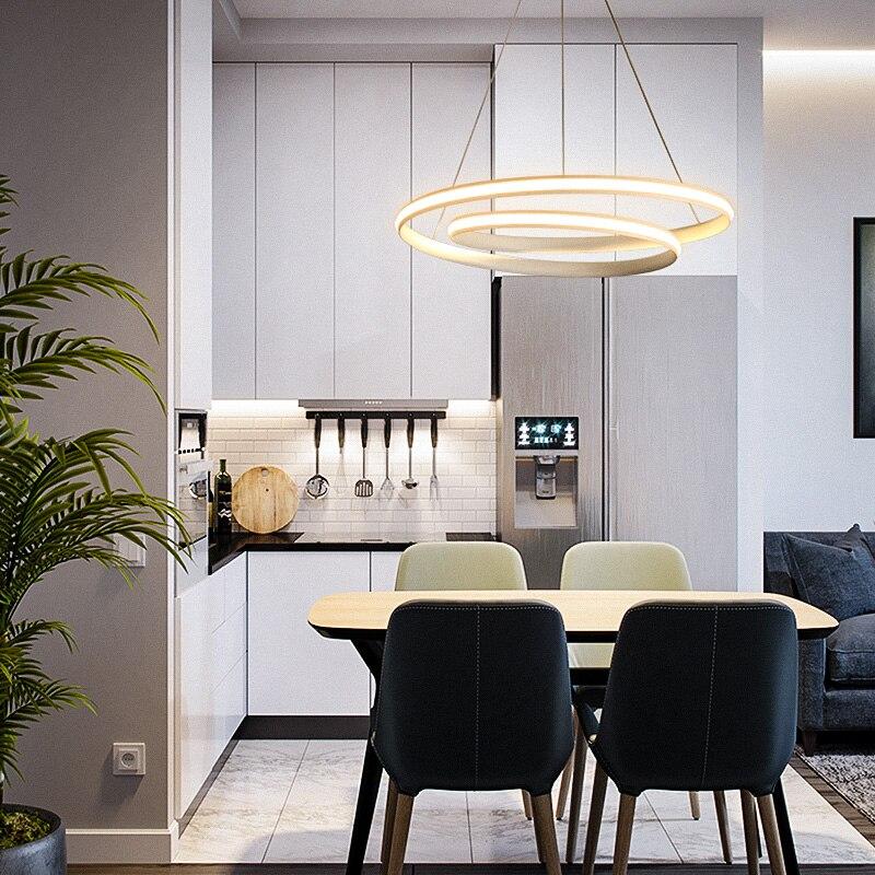 Hot Creative Modern Led Pendant Lights for Living Room Dining Room Bedroom White or Black Deco Pendant Lamp Fixtures 90 260V in Pendant Lights from Lights Lighting