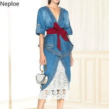 Neploe Fashion Two Pieces Set Denim Bow Sashes Irregular Blouse+Skirt Lace Patchwork 2020 Spring Summer Modis Runway Suit 42749(China)