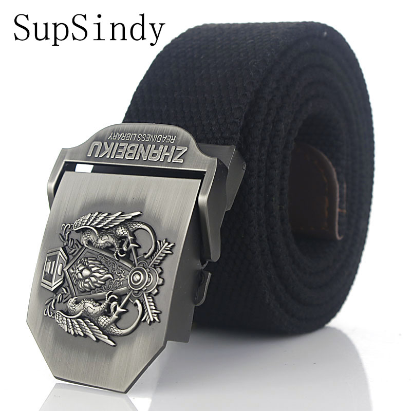SupSindy canvas belt Alloy buckle Top quality military fans tactical canvas belt For Men strap Casual belts for women Army green
