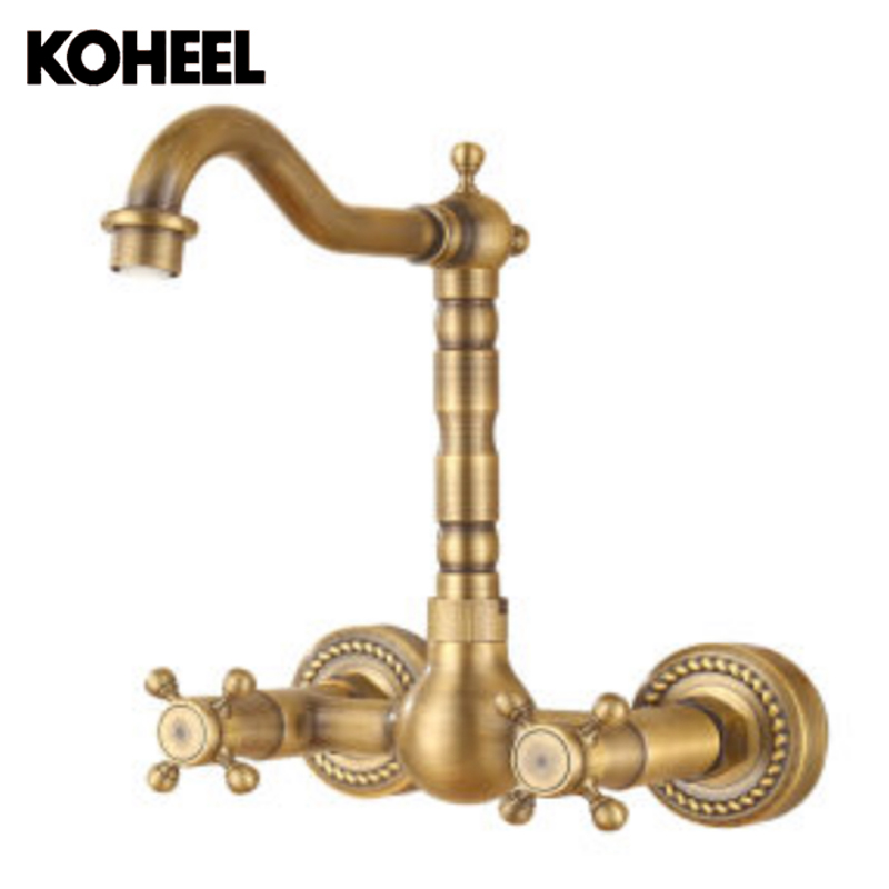 Antique Brushed Brass Bath Faucets Wall Mounted Bathroom Basin Mixer Tap  Crane With Hand Shower Head Bath U0026 Shower Faucet